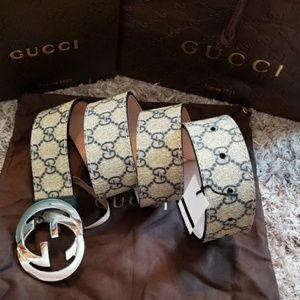 😍Authentic Gucci Belt Blue & Tan Monogram Print